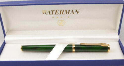 Waterman Preface Green Marble /& Gold Trim Rollerball  Pen In Box  Mint *