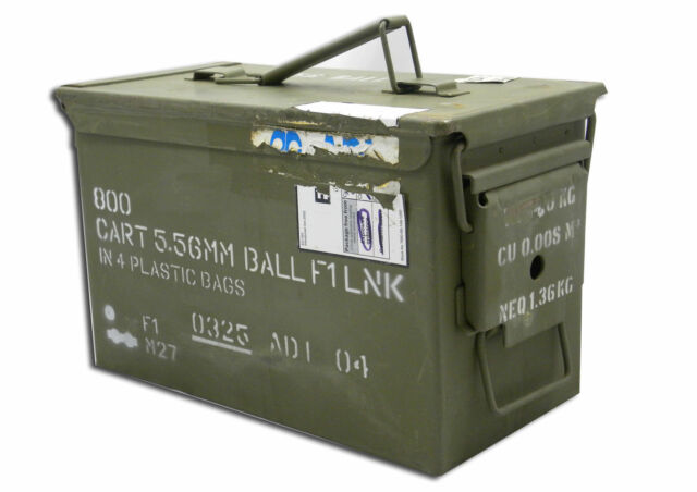 AMMO BOX 50 CAL AMMUNITION BOX  STEEL FULLY SEALED EX MILITARY ARMY