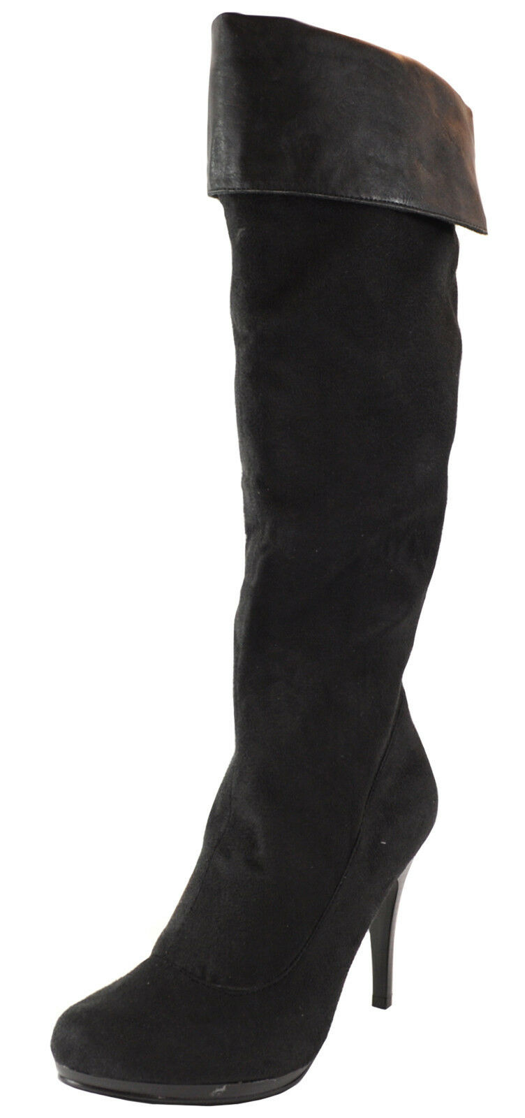 New women's shoes high shaft over the knee boot suede like side zipper black
