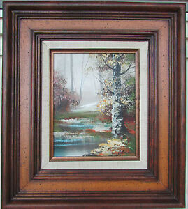 Original-Framed-Oil-Painting-Landscape-Forest-Stream-Signed-Altman