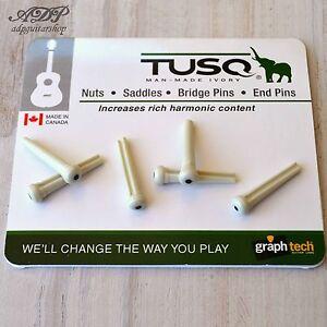 GRAPH TECH TUSQ® ACOUSTIC GUITAR BRIDGE PINS WHITE W//PEARL DOT *NEW* PP-1142-00
