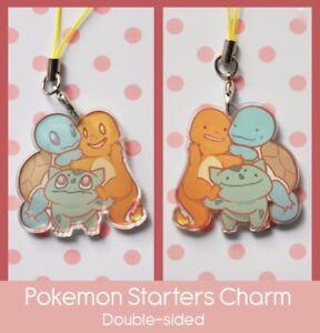 pkmn starter keychain charm charmander pika.chu bulbasaur squirtle shiny cute kawaii glitter gameboy color gift acrylic