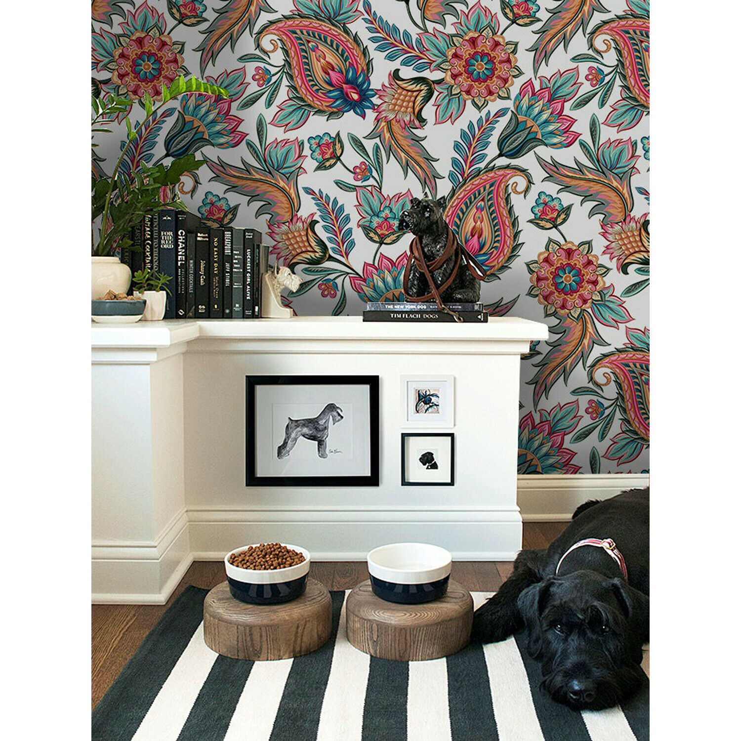 Paisley Removable wallpaper Farbeful Blau and Orange wall mural wall art