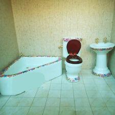1:12 Dollhouse Miniature Ceramic Bathroom Furniture set Toilet Basin Brush Stand
