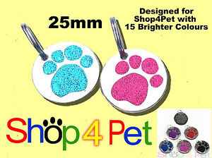 Dog-Cat-Tag-25mm-Reflective-Glitter-PET-ID-Tags-Paw-Design-ENGRAVED-OPTIONS