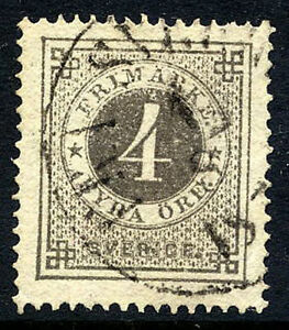 SWEDEN-1876-4-ore-perforated-14-fine-used