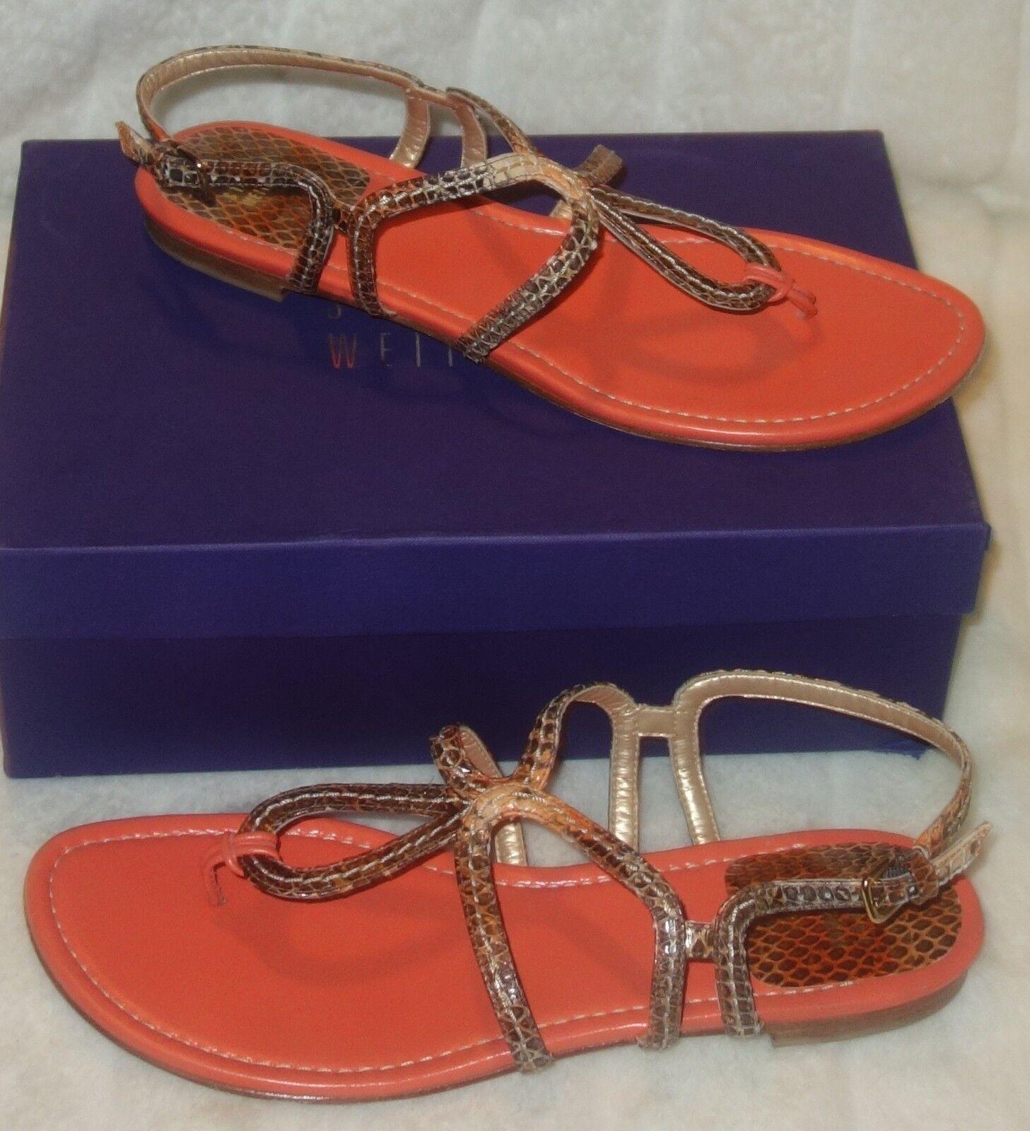 Stuart Weitzman eyespy Orange sea snake Sandals sz 41 US SZ 10 new