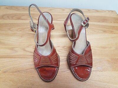Abile Donna Scarpe Vintage Tan Tomaia In Pelle-mostra Il Titolo Originale