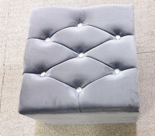 gris foncé Steel Peluche 18 x18 x 15 Ottoman stoole