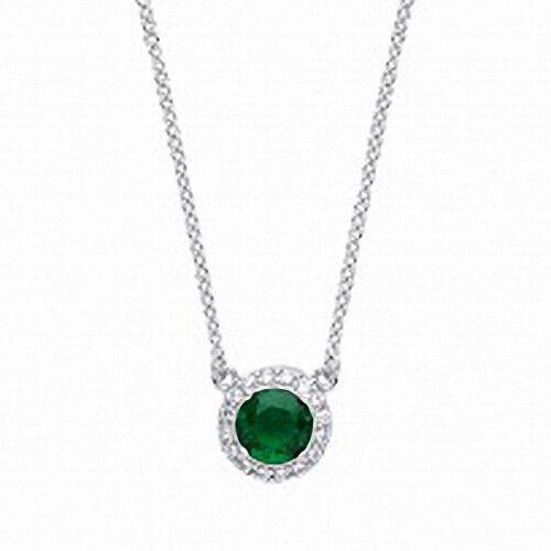 Sterlingsilber Halskette mit Funkelnde Smaragd Rund mit Cz Anhänger und Kette
