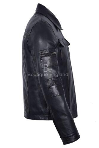 Men/'s Fashion Zipper Jacket Biker Style Black Wax Soft 100 /% Real Leather Jacket