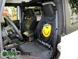 Jeep American Flag Bandana Yellow Smiley Face Front Seat Cover Towel