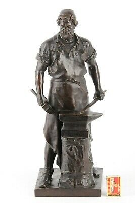 """Besorgt Bronze Figur Von W. Albermann """" Der Schmied """" Wohltuend FüR Das Sperma"""