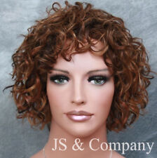 100% HUMAN HAIR Wig Curly/Wavy Short Brown Blonde Auburn Mix WIG JGRE 4-27-30
