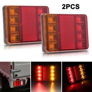 2-un-12V-8Led-Coche-Luces-Traseras-Trasero-freno-deja-indicador-de-camion-con-acoplado