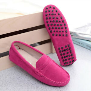 Image is loading Women-039-s-Loafers-Ladies-039-Suede-leather-