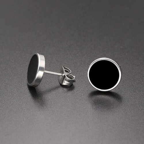 titanium steel oil unilateral round dumbbell Style stud earrings genuine 100/%.