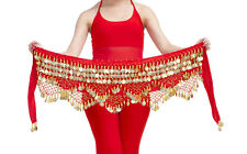 Belly Dance Costume Hip Scarf Tribal Triangle hip Belt skirt velvet &Gold coins