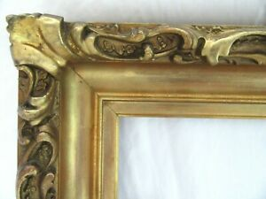 ANTIQUE-FITS-4-X-12-WOOD-GOLD-GILT-DEEP-RELIEF-GESSO-PICTURE-FRAME-ORNATE