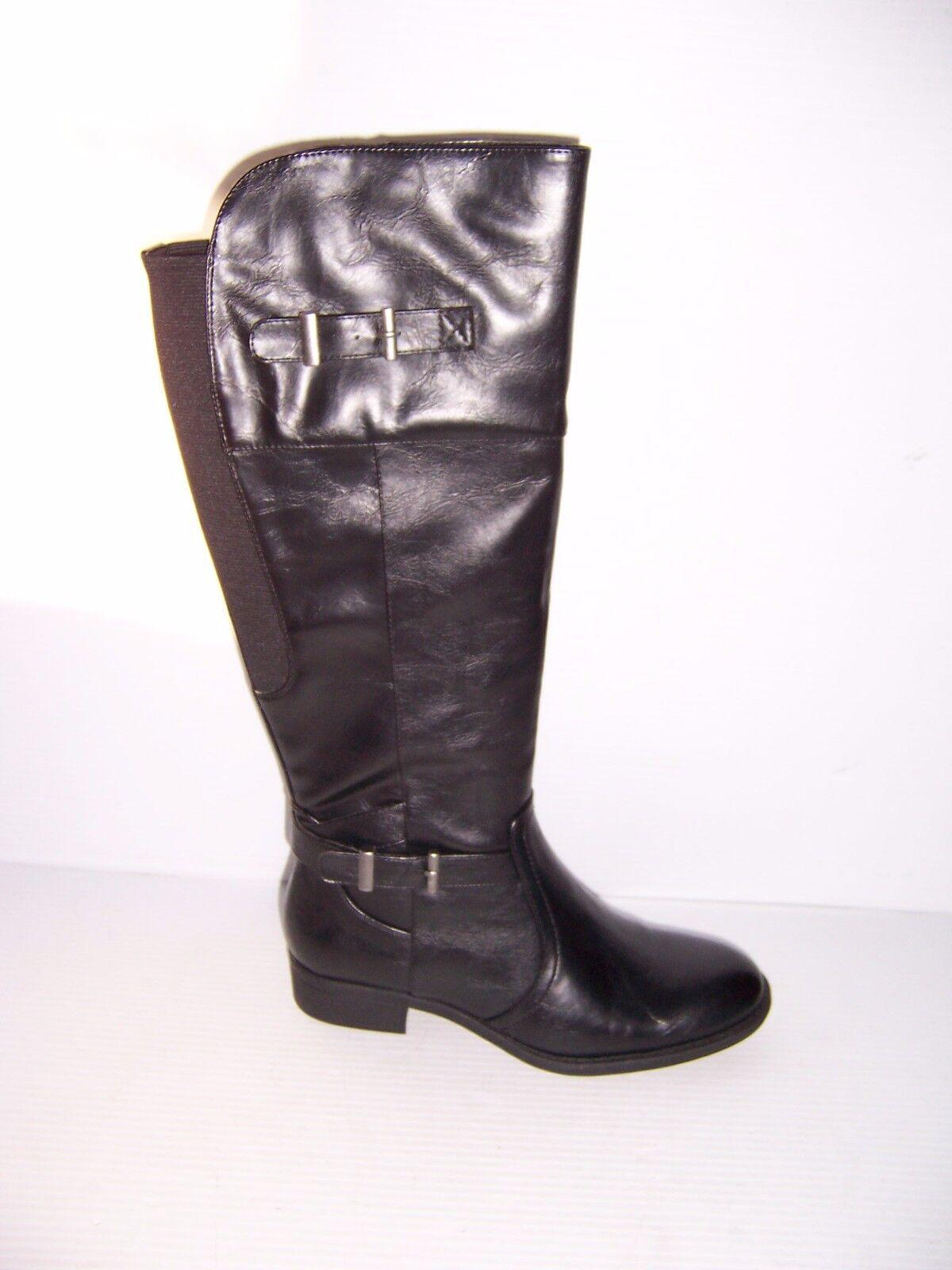 YUU ROCIO  damen ZIP UP schwarz schwarz schwarz DOUBLE BUCKLE RIDING Stiefel Größe 8  NEW e2016a