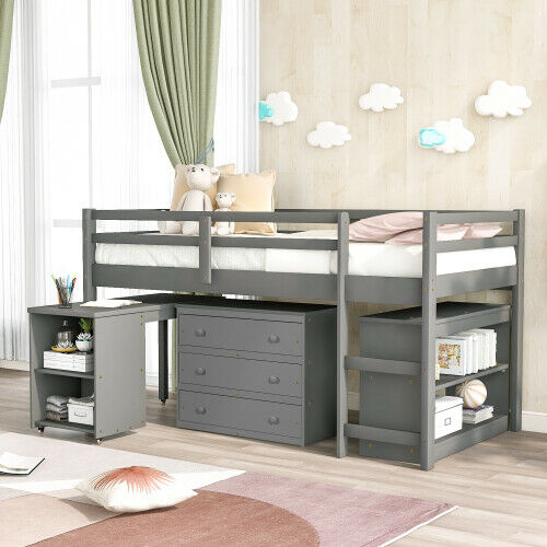 Acme Ragna Twin Loft Bed With Desk And Wardrobe In White For Sale Online Ebay