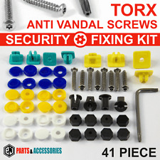 41x NUMBER PLATE CAR FIXING SECURITY SCREWS & Blue Yellow White CAPS HINGED Kit