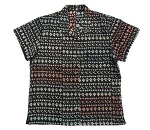 Aloha Hawaiian shirt Vintage Antique Japanese Kimono remake (Silk, schwarz,L) kiwa
