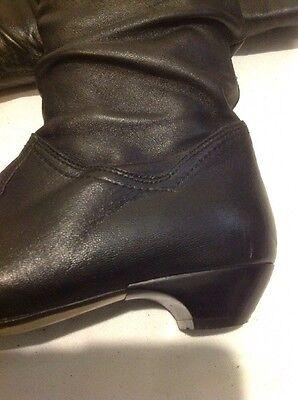 Dolcis Negro Knee High Cuero Botas Talla 38
