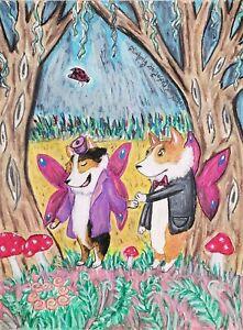 CARDIGAN WELSH CORGI Faeries Fairy Dog Pop Art 2.5 x 3.5 ACEO Signed Print KSAMS