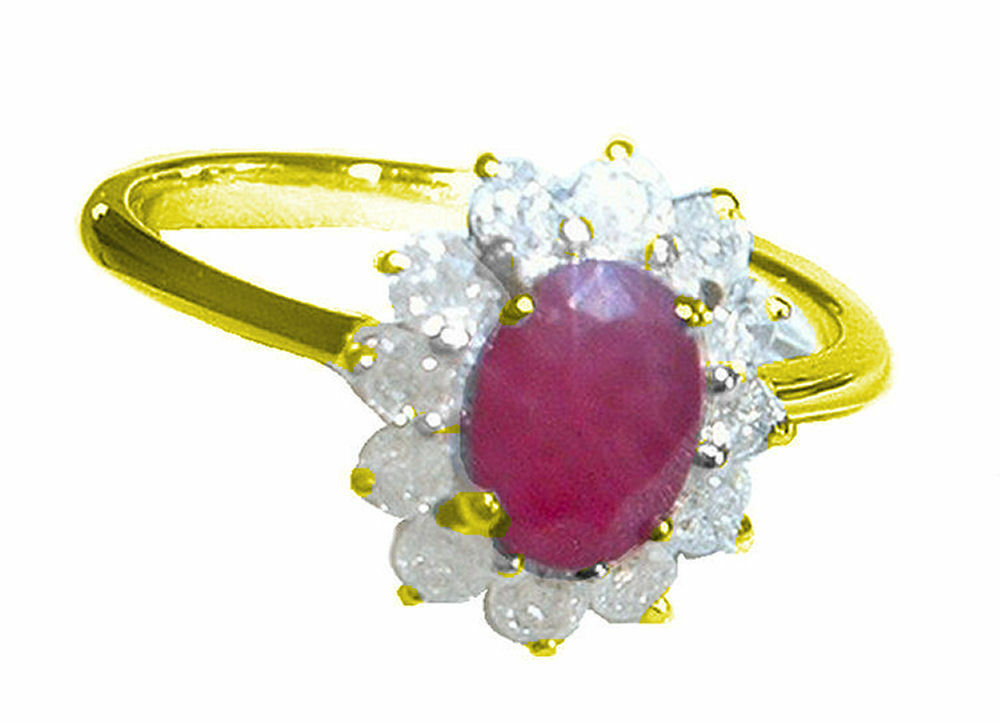 1.14ct Ruby & Diamond Ring in 14K Yellow gold