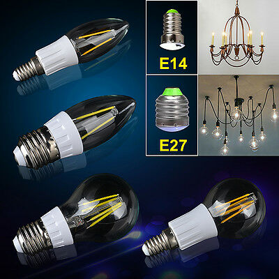 CLEAR STOCK 4/8pcs Clear Candle Bulb Golf Globe Lamp COB LED Light E14 E27 4W 2W