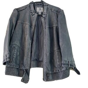 Inked & Faded Womens Jacket Faux Leather Sz XL Bomber Moto Style