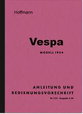 Hoffmann Vespa 125 ccm Bedienungsanleitung Betriebsanleitung Handbuch Roller