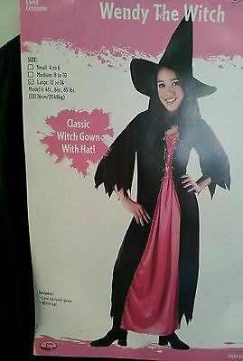 Costume Wendy Witch Black classic Witch gown hat large 12-14 Operetta Fun world