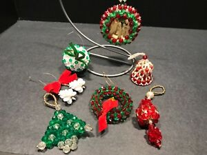 Beaded Christmas Ornaments.Details About Lot Of 7 Handmade Beaded Christmas Ornaments Diorama Wreath Nativity Bell Tree