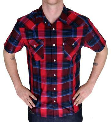 NEW LEVI/'S MEN/'S CLASSIC COTTON CASUAL BUTTON UP PLAID BURNT PRD-3LYSW6102