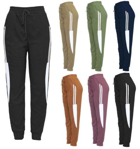 New Ladies Womens Stripe Stretch Fleece Lined Slim Fit Sport Trousers Jogger