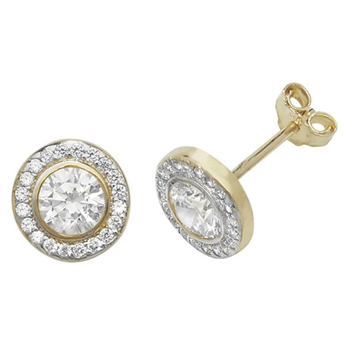 New Hallmarked Small 9ct Yellow gold CZ Stud Earrings Round Earring ES474