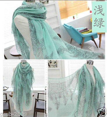 Pretty Green Porcelain Voile Cotton Blend Scarf Wrap Ladies Shawl Large Scarve