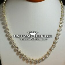 "2 Tone Brilliant Big Cluster Design Necklace Chain 14k Yellow Gold Finish 30"""
