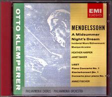KLEMPERER: MENDELSSOHN A Midsummer Night's Dream LISZT Concerto CD Annie FISCHER
