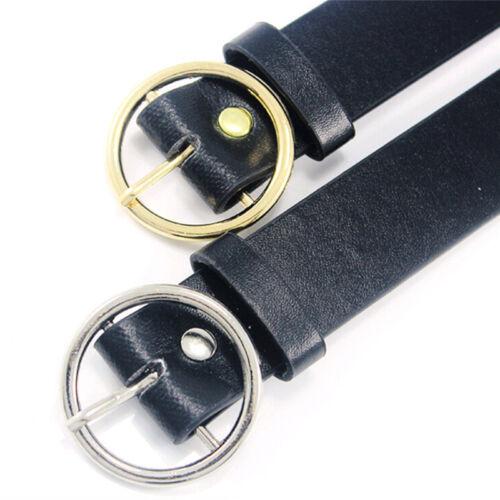Fashion Women Girls Belts Leather Round Metal Pin Buckle Waist Belt Waistband G1