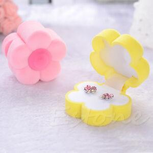 1 PC Ring Necklace Earring Box Sun Flower Velvet Valentine Jewelry Case