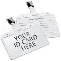 12x Clip On Clear Badge Name Tag Card Holder for ID Trade Show Exhibition Events