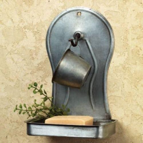 Primitive Country Farmhouse Chic Bath SOAP & CUP HOLDER Tin Wall Shelf Holder