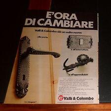 Advertising Italian Pubblicità Werbung: 1977 VALLI & COLOMBO MANIGLIE ACCESSORI