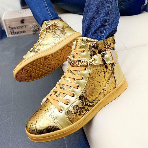 hommes high top punk buckle lace up hip-hop dance chaussures sneaker ankle boots