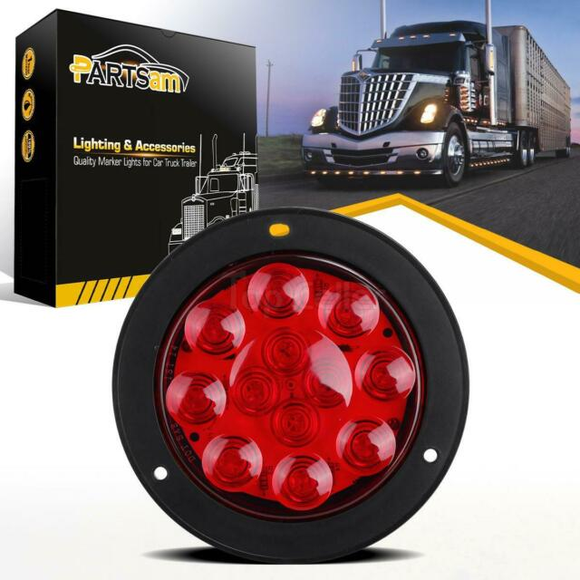 4 U0026quot  Round Sealed 12 Led Red Stop Turn Tail Brake Truck