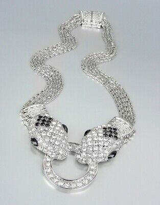 """White Pave Crystals Mesh Rose Gold-Tone Magnetic Clasp Pendant Necklace 17/"""""""