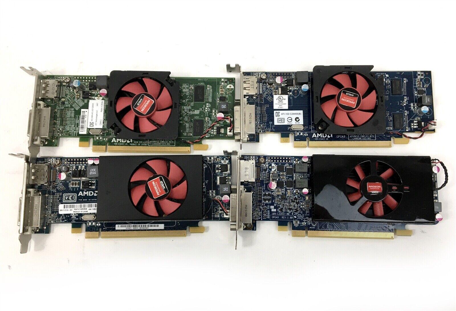 Lot of 4 Mixed AMD 1GB DIsplayPort DVI Low Profile GPU's HD 7570 8490 6450